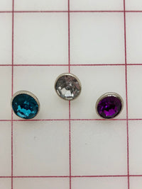 Button - Silver with Turquoise, Crystal, and Amethyst Acrylic Stones 3-Pack