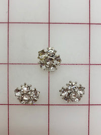 Button - Silver with Crystal Rhinestones .5-inch 3-Pack