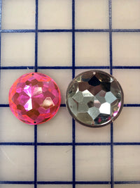 Decorative Gems - 1.5-inch Round Sew-On Gems Bright Pink 3-Pack SPECIAL PURCHASE!