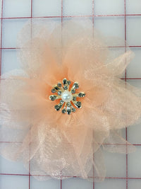 Flowers -  Organza Flower with Crystals Peach