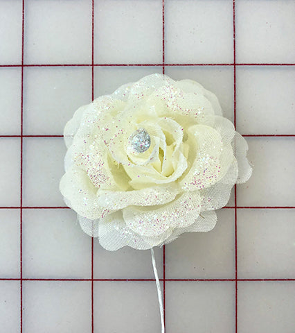 Flowers - Ivory Rose with Glitter