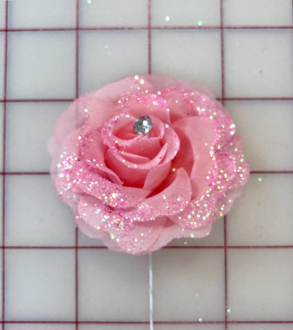 Flowers - Rose Pink with Glitter
