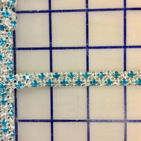 Rhinestone Banding - Czech 2-Row Aqua and Crystal
