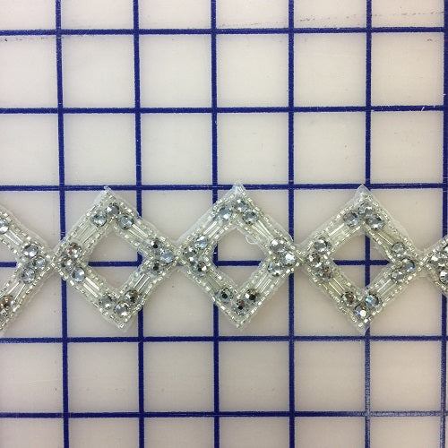 Rhinestone Trim - 2-inch Beaded Trim with Rhinestones Silver