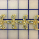 Rhinestone Trim - 1 1/2-inch Trim with Crystal Rhinestones Gold