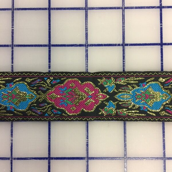 Metallic Trim - Jacquard Ribbon Black Magenta Turquoise 1.25-in
