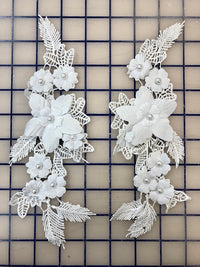 Applique - White 3-D Pairs