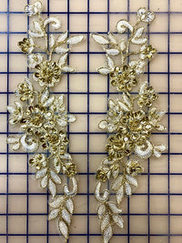 Applique - White and Gold Lace Sequined Pairs