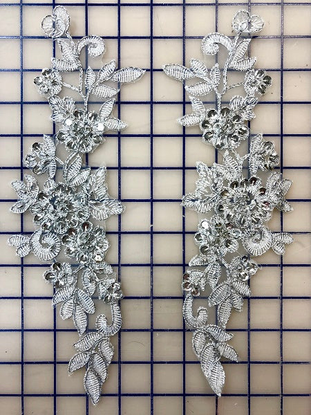 Applique - White and Silver Lace Sequined Pairs