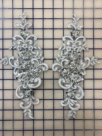 Applique - Silver and Silver Lace Sequined Pairs
