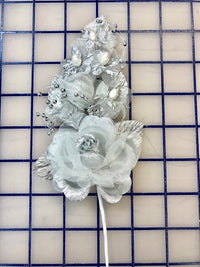 Flowers - Flower Spray Headpiece Silver