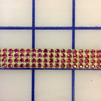 Rhinestone Trim - 4-Row Hot Fix Banding Fuchsia and Gold Close-Out