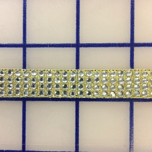Rhinestone Trim - 4-Row Hot Fix Banding Crystal and Gold Close-Out