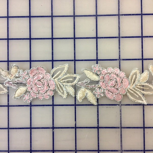 Metallic Trim - Pale Pink Flowers with Ecru Leaves and Silver Outline