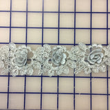Metallic Trim - Silver Metallic 3D Rose Trim