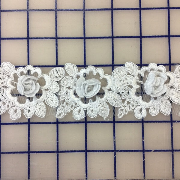 Non-Metallic Trim - White 3D Rose Design
