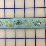 Metallic Trim - Pale Blue with Metallic Gold and Rhinestones 1-in