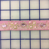 Metallic Trim - Pale Pink with Metallic Gold and Rhinestones 1-in