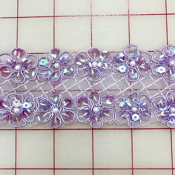 Sequined Trim - 2-inch Sequined Lavender