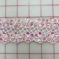 Sequined Trim - 2-inch Sequined Pink