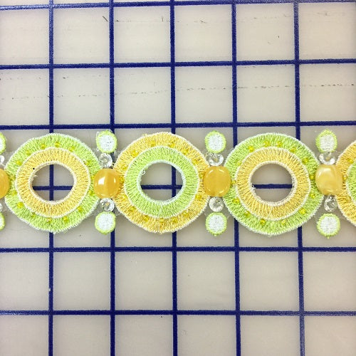 Non-Metallic Trim - 1 3/4-inch Vintage 1960's Style Yellow and Green Close-Out
