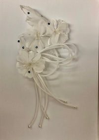 Flowers on a Comb Hair Accessory White with Light Sapphire Swarovski Rhinestones