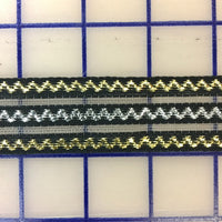 Metallic Trim - 1.25-inch Metallic Threads Ribbon on Horsehair Black with Gold and Silver