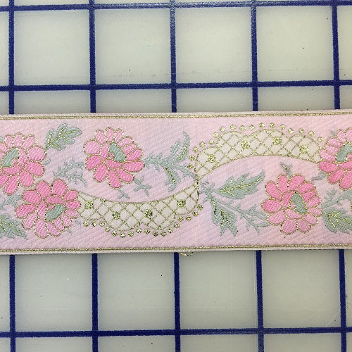 Ribbon Trim - Embroidered Floral Pink