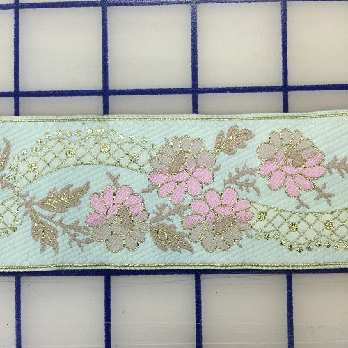 Ribbon Trim - Embroidered Floral Design Mint Green with Pink