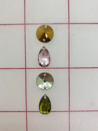 Rhinestones - 10mm and 12x7mm Swarovski Round and Pear-Shape Sew-On