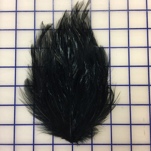 Feather Trim - Hackle Pads Black