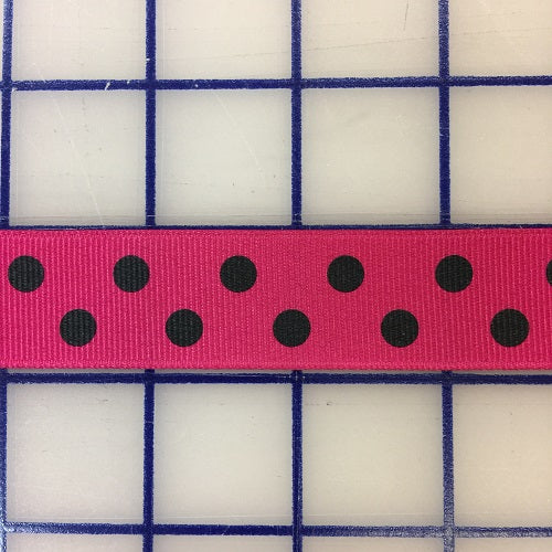 Grosgrain Ribbon - 7/8-inch Aspirin-Dot Black on Shocking Pink