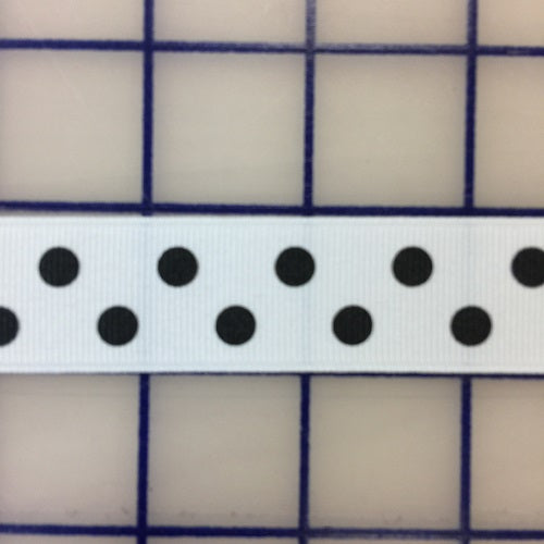 Grosgrain Ribbon - 7/8-inch Aspirin-Dot Black on White