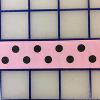 Grosgrain Ribbon - 7/8-inch Aspirin-Dot Black on Pink Close-Out