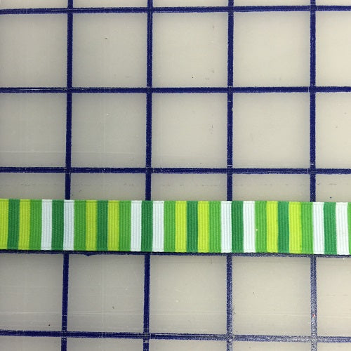 Grosgrain Ribbon - 5/8-inch Green and White Striped