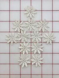Applique - Beautiful Set of 12 White Dyeable Flower Motifs Close-Out