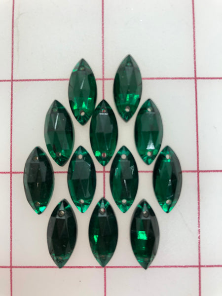 Rhinestones - 18x9mm Czech Emerald Navette Sew-On