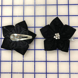 Flowers- Velvet Flower Hairclip Black with Crystal Rhinestones