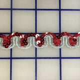 Sequin Trim - 1/2-inch Red and Silver