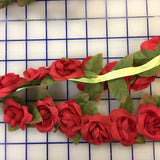 Flower Trim - 2-inch Rosebud Garland Red