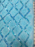 Fancy Lace - 47/48-inches Wide Mesh with Ribbon Flowers and Sequins Aqua