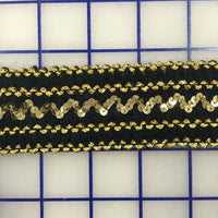 Stretch Trim - 1.5-inch Black and Gold