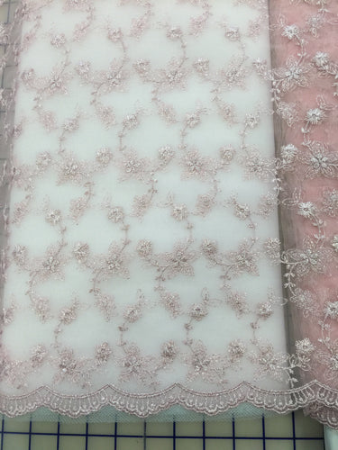 Fancy Lace - Flower Embroidered Tulle 54-inches Wide Rose