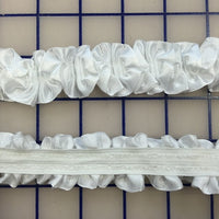 Stretch Trim - 1-inch Ruffled Satin White