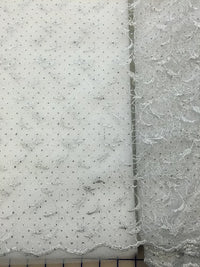 Fancy Lace - Embroidered Tulle 54-inches Wide White/Silver