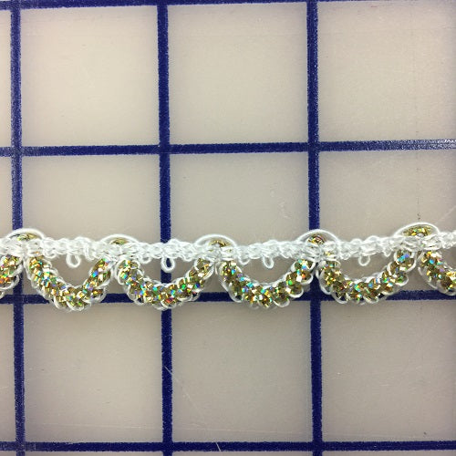 Metallic Trim - 3/8-inch White and Gold