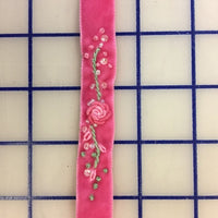 Velvet Ribbon - 1/2-inch Vintage Hand-Embroidered Pink