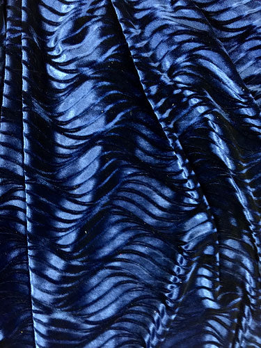 Wavy Stretch Velvet - 60-inches Wide Navy