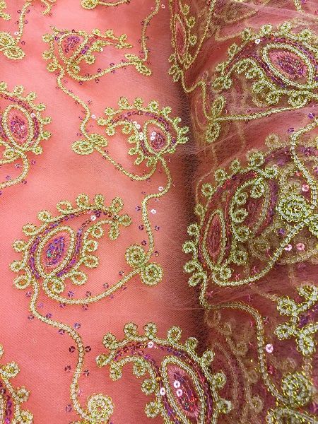 Fancy Sequined Paisley - 50-inches Wide Coral and Gold