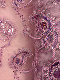 Fancy Sequined Paisley - 50-inches Wide Pink and Silver